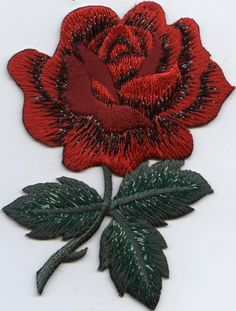 Iron On Embroidered Applique Patch Large Single Red Rose Green Leaves #Unbranded #Embroidered