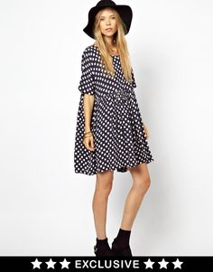 $112, Black Polka Dot Casual Dress: Ganni To Asos Smock Dress In Navy Polka Dot Print. Sold by Asos. Click for more info: https://lookastic.com/women/shop_items/49838/redirect