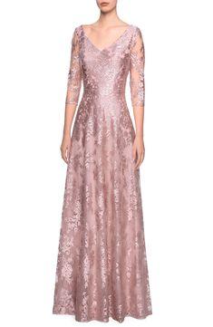La Femme Floral Embroidered A-Line Gown | Nordstrom Evening Dresses Online, Evening Gowns, Dress Online, Elegant Prom Dresses, Formal Dresses, Bride Dresses, Wedding Dresses, Elegant Gowns, Women's Dresses