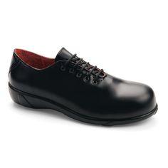 Chaussures de sécurité S.24 Ligne Fashion modèle Adèle Noir S3 Réf. 5602 • Tige cuir pleine fleur rouge • Doublure cuir rouge • Embout composite STC • Semelle anti-perforation composite SMS+ • Semelle extérieure caoutchouc nitrile • Semelle intérieure cuir