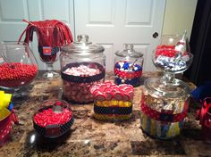 The candy bar my sister and I made for my oldest sister's baby shower next weekend! Nautical theme :)