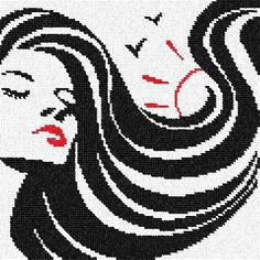 point de croix femme long cheveux noirs - cross stitch woman with long black hair