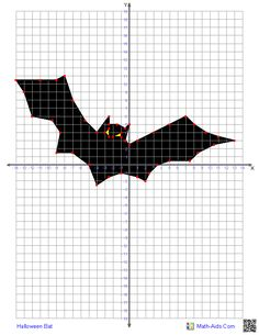 Four Quadrant Graphing Characters Worksheets-bat