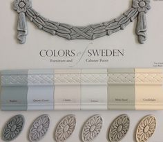 Paint colors reflect the Swedish Gustavian Style; soft grays, blues, greens and warm white. Lime Wash Glaze and Sheer Smoke Glaze to add beauty. #paintcolorsofsweden