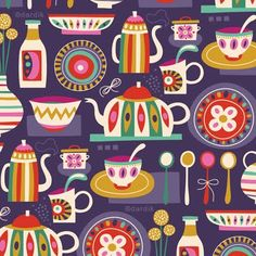 Tea party pattern by Helen Dardik - this woman's illustration is so darn delightful!