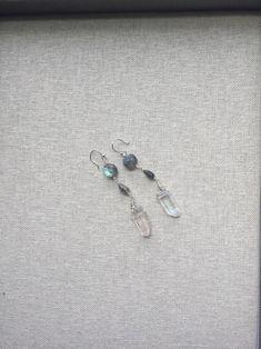 Aura Quartz Labradorite Gemstone Earrings   Etsy Tourmaline Necklace, Gemstone Earrings, Etsy Earrings, Black Tourmaline, Short Necklace, Labradorite, Belly Button Rings, Quartz, Gemstones