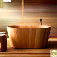 Japanese bath tub by rapsel minimalist bathroom traditional wood bath tubs Wood Tub, Wood Bathtub, Wooden Bathroom, Bathroom Furniture, Bathroom Interior, Freestanding Bathtub, Deep Bathtub, Modern Bathtub, Bathroom Remodeling