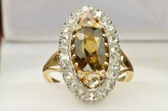Victorian Style Citrine and Rose Cut Diamond Ring from timelessantiques on Ruby Lane