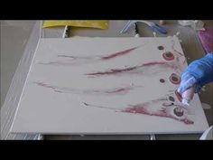 De Lew Pink Smoke Acrylic Pour with string pull - YouTube