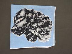 Vintage Cocker Spaniel Dog Handkerchief - Black Cocker Spaniel Light Blue - Hankie Hanky - Collectible - Womens Accessories - Arts Crafts