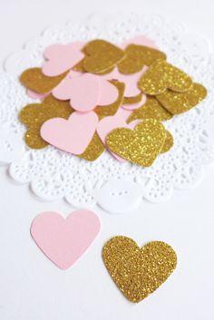 Pink and Gold Heart Confetti #pinkandgold #babygirl #bridalshower