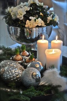 have a merry little christmas…. Christmas Mood, Silver Christmas, Elegant Christmas, Merry Little Christmas, Christmas Candles, All Things Christmas, Christmas And New Year, Holiday Fun, Christmas Vignette