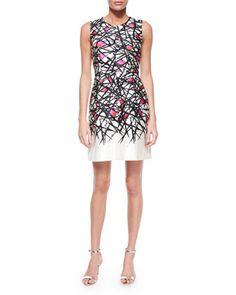 Coco Abstract-Print Dress, Pink Pattern at CUSP.