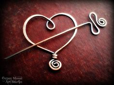 hammered copper wire Heart brooch or shawl pin by gypsymoonart $ 19.00, via Etsy.