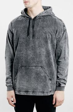 Topman+Oversize+Acid+Wash+Black+Denim+Hoodie+available+at+#Nordstrom