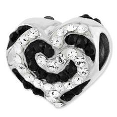 Sterling Silver Reflections Black & White Swarovski Elements Charm Bead