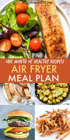This Air Fryer Meal Plan includes 4 full weeks of air fryer main dishes, plus an assortment of delectable air fryer sides, breakfasts and desserts. Air Fryer Recipes Vegan, Air Fryer Dinner Recipes, Air Fryer Healthy, Lunch Recipes, Seafood Recipes, Appetizer Recipes, Healthy Recipes, Meals For The Week, Easy Cooking