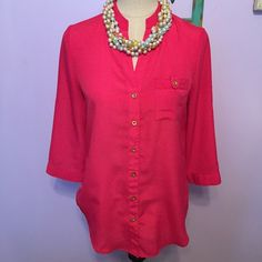 """Spence brand pink button down blouse Excellent condition! V neck style button down. 100% polyester. Quarter sleeve but sleeves can be rolled up and secured. Gold buttons. Could maybe be worn as a tunic depending on your height. Measurements when laid flat: 19.5"""" pit to pit, 28.5"""" length.  no trades or Paypal  Spense Tops Blouses"""