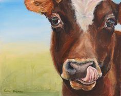 "Cow Painting, Original Painting, Custom Animal Portrait, TASTY, Big Brown Eyes, 16x20"" by BrightEyesByOpal on Etsy https://www.etsy.com/au/listing/475760809/cow-painting-original-painting-custom"