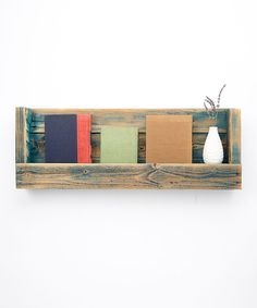 Turquoise Wash Rustic Book Shelf (Would make deeper to put books side by side)