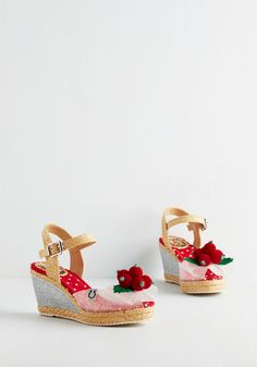 Cherry Season Wedges. With the arrival of summer comes the tart taste of fresh cherries - and the sweet style of these sandals from London brand Miss L Fire! #red #modcloth