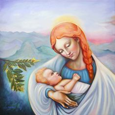 Mary and child by Nino Ponditerra Painting For Kids, Original Paintings, Oil Paintings, Disney Characters, Fictional Characters, Digital Art, Palette, Mary, Art Prints