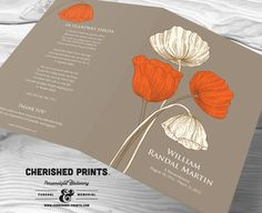 Poppies Remembrance Funeral Memorial Program  by CherishedPrints