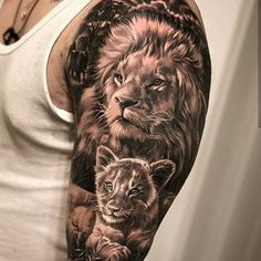 Lion + lion cub tattoo on the shoulder - lion + lion cub tattoo on . - Lion + lion cub tattoo on the shoulder – lion + lion cub tattoo on the shoulder – - Lion Cub Tattoo, Cubs Tattoo, Lioness Tattoo, Lion Tattoo Design, Tiger Tattoo, Tattoo Baby, Lion Design, Father Son Tattoo, Father Tattoos