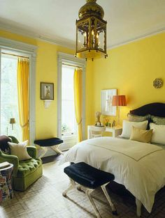 Etonnant Yellow Bedroom With Dark Accents, Large Gold Lantern And Mossy Green Velvet  Chair   Robert Passal