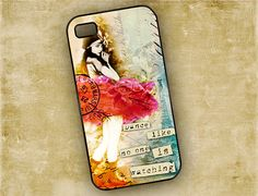 Iphone 4 / 4s cover, Dance like no one is watching - altered art collage ballerina, Iphone 4 case, Iphone 5 case (9623)