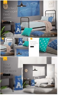 Kids Room - Toddler Bed/ Teenager Bed Mock-up #Homedecor #staging #kidsroom  You can change color and put your own design using smart objects on elements: #mattress, #quilt, #blanket, #pillows, #cushions #mockups