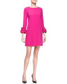 Long-Sleeve Dress with Ruffle Cuffs, Fuchsia by Paule Ka at Neiman Marcus.