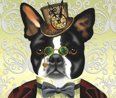 "Steampunk Boston Terrier Victorian Print $20.00  8.5"" x 11"" Perfect little Victorian American steampunk gentleman decked out in a tiny top hat with a clock, spectacles, bow tie and red velvet jacket."