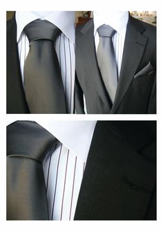 groom - black suit, white shirt, charcoal tie
