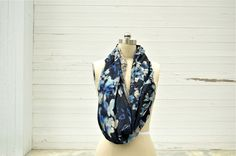 Navy Silk Floral Cowl Scarf via RUBA RUBA Designs. Click on the image to see more!