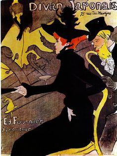 """DIVAN JAPONAIS Art Nouveau poster by Toulouse-Lautrec (1864-1901). 14"""" x18"""" . Beautiful, Colorful, Giclee Reproduction of 1893 original of the Montmartre cabaret on Heavy Museum Quality Rag Paper."""