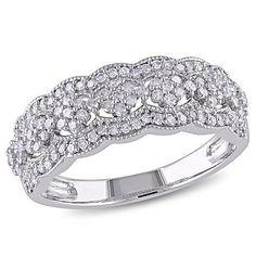 10K White Gold 0.49ct White Diamond Scallop-Edged Ring