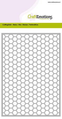 115633/0602 CraftEmotions Die - Cutting Grid - honingraat / honeycomb / Waben / Card 10,5x14,8cm / 8718736029555