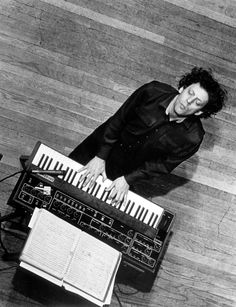 Philip Glass with his Prophet 5