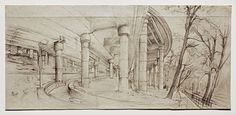 """""""Under the Off-Ramp From the George Washington Bridge,"""" Rackstraw Downes, graphite on light blue paper with blue threads, 17 x 36 Betty Cuningham Gallery. Teaching Drawing, Vanishing Point, Nature Drawing, Whitney Museum, National Gallery Of Art, Inspirational Artwork, Art Institute Of Chicago, Elements Of Art"""