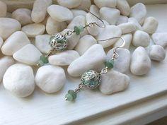 Delicate and Elegant Handmade Light Green Glass Earrings by ZaZaJewels on Etsy