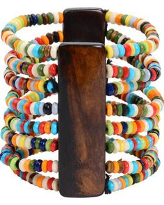 Trades of Hope - Show your colors with this fun stretch-fit cuff. Brightly colored beads and 1.5-inch-tall wood bars make this accessory a conversation starter.