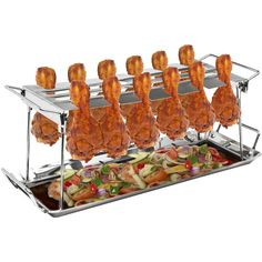 Sorbus® 12 Slot Chicken Leg Grill Stand – Multi-Purpose Non-Stick Poultry Stand (12 Slot Chicken Leg Grill Stand), Silver stainless steel