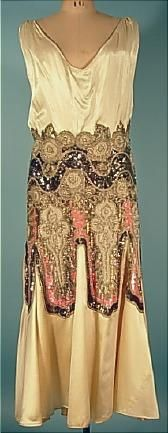 c. 1920's Ecru Satin Dress with Large Sequin and Beaded Design