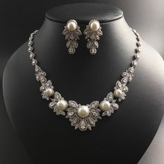 2017 new fashion retro shell pearls with flower zircon necklace earring set,wedding bride banquet dress dinner jewelry popular