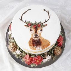 """Open Order Christmas Cake. Delivery 15 - 24th Dec. 🌲 """"Vintage Charm Christmas"""" Hand-painted reindeer with Christmas wreath. Limited slots available"""