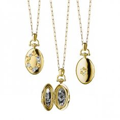 Oval 18k Gold Locket Necklace - Rose-Cut Sapphires
