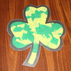Black construction paper/Scissors/m Contact paper/ Shamrock Template Green tissue paper March Crafts, St Patrick's Day Crafts, Arts And Crafts, Contact Paper Crafts, Tissue Paper Crafts, Toddler Crafts, Preschool Crafts, Kids Crafts, Lion And Lamb