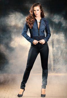 Conjuntinho Mix de Tecidos! Jaqueta Jeans & Neoprene, Ref. 60176 Calça Jeans & Neoprene, Ref. 56488