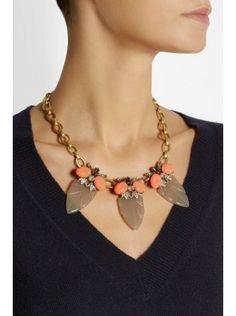 J Crew Arrowhead Goldtone Crystal Acetate And Cubic Zirconia Necklace $65